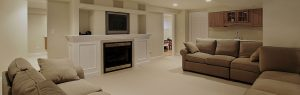 Basement with cabinets and doors painted white