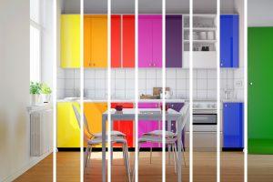 Rainbow coloured kitchen cabinets