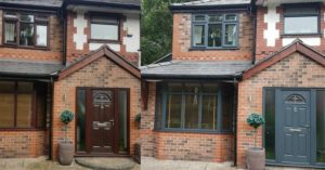 uPVC Front Door and Window Painted Grey, before and after