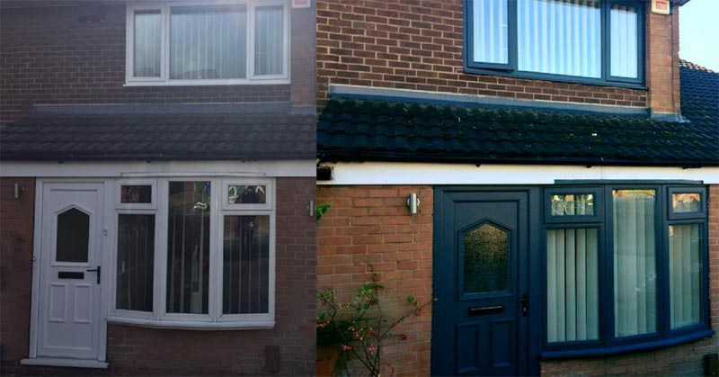 Before and After Front uPVC Door and Windows Being Painted