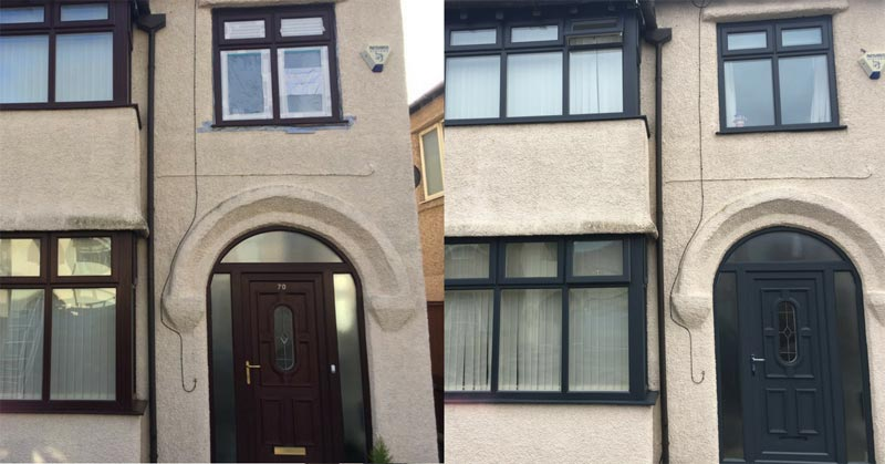 uPVC Painted Doors and Windows from Brown to Grey
