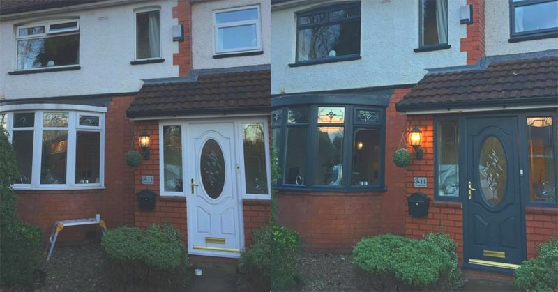 Before and after White uPVC Doors and Windows Painted Grey